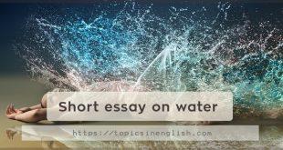 Short essay on water