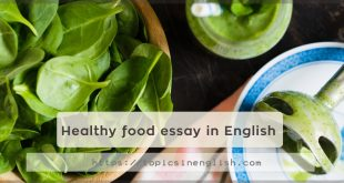 Healthy food essay in English